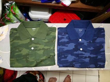 Uniqlo Mens Green + Blue Camo Polo