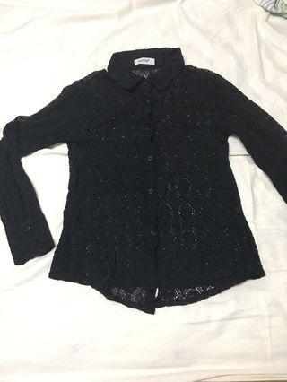 縷空花紋性感黑襯衫