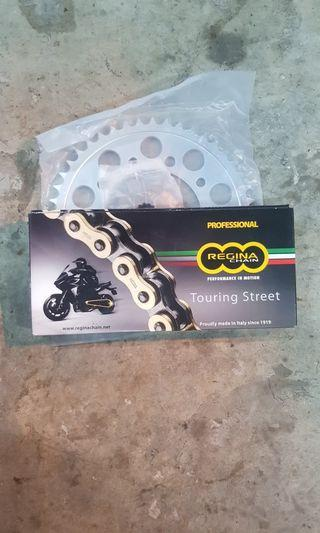 Instock Honda 400x sprocket set & regina heavy duty gold chain