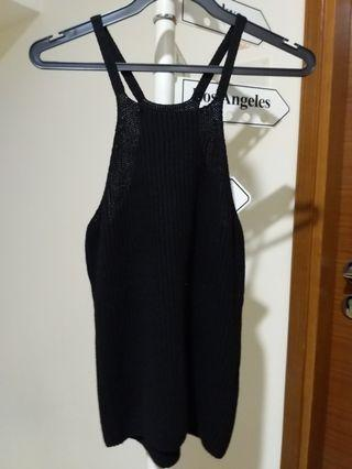 Black Halter Knit Top XS