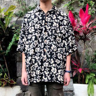 私路古著 花襯衫 夏威夷襯衫 滿版 黑色