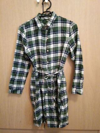 Green checker autumn dress