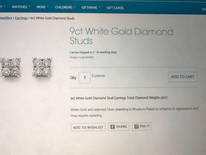 9ct White Gold & Diamond Earrings