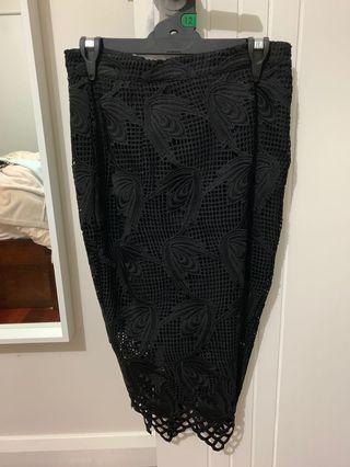 Bardot midi lace skirt