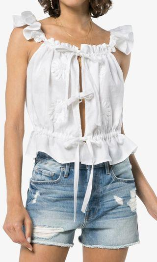 Innika choo white floral embroidered linen cAmi top