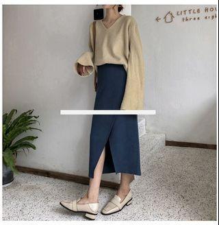 Knit Overlap Midi Skirt in Dusty Blue