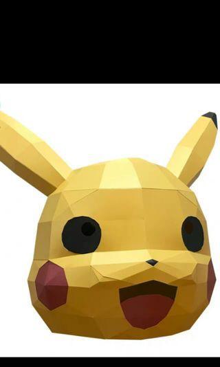 DIY 比卡超 pikachu 紙頭套 頭套 面具  d.i.y. 道具 另有 秋田犬 雪橇