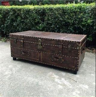 Vintage Leather Trunk Coffee Table