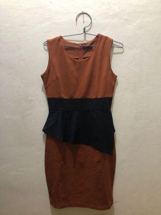 Brown Peplum Dress