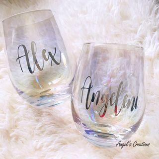 Personalized/Customized Iridescent Glass Cup
