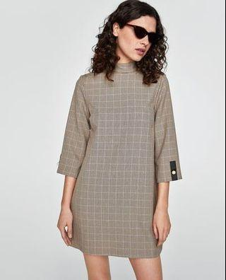 Zara Checked dress with pearl