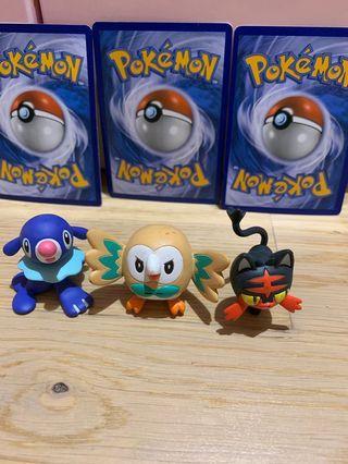 Pokemon Figures (Litten, Rowlet, Poplio)