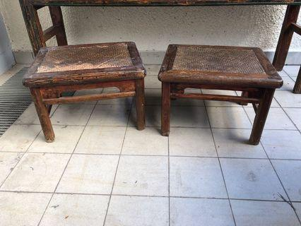 Authentic Antique Chinese foot stools (x2)