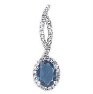 925 Sterling Silver Pendant NATURAL REAL OVAL LONDON BLUE TOPAZ PLATED WHITE GOLD 925 STERLING PERAK ASLI IMPORT CASUAL LOKET NON NECKLACE