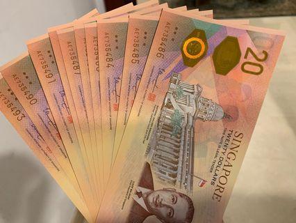 Singapore $20 Bicentennial notes