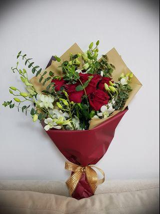 Flower Bouquet, roses and orchids
