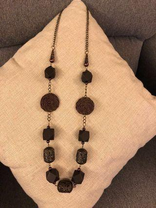 啡銅色東方特色長頸錬 Brown & Bronze Oriental Long Necklace
