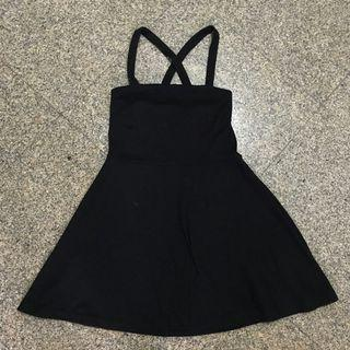 Black criss cross back dress