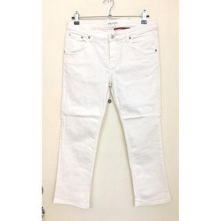 PRADA -- 女裝 蓋膝長度 白色 牛仔褲 Ladies White Jeans  *意大利製造Made in Italy  @Size: 28 ..
