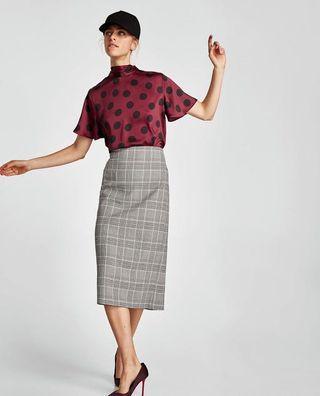 Zara checked skirt