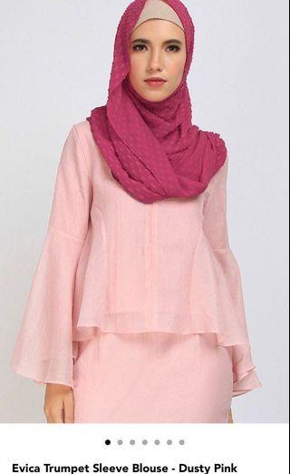 Dusty pink Trumpet sleeve blouse