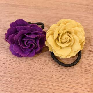 玫瑰花髮夾 Purple & Yellow Rose Hairband