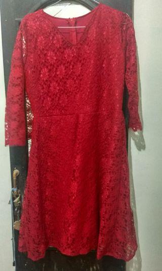 Dress Brukat Merah New