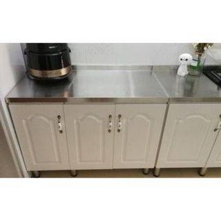 Stainless Steel Table Top + Kitchen Cabinet with 2 doors