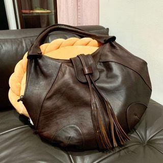 Dark brown genuine leather hobo bag