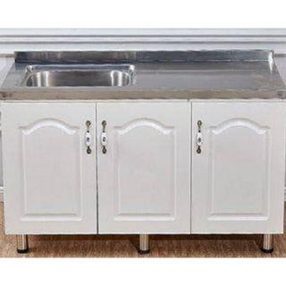 Stainless Steel Kitchen Cabinet with 3 Doors + Single Sink