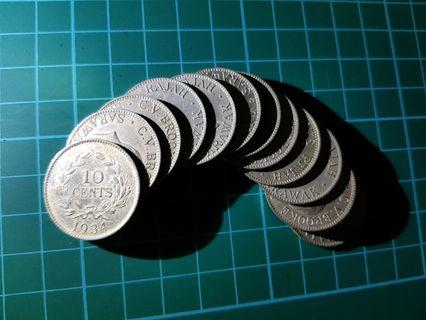 Sarawak 1934 10 cent