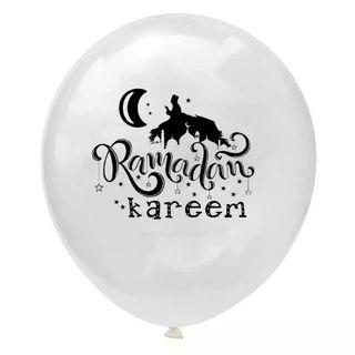 🚚 12-inch RAMADAM KAREEM Muslim Islamic Party Decoration Clear Latex Balloons
