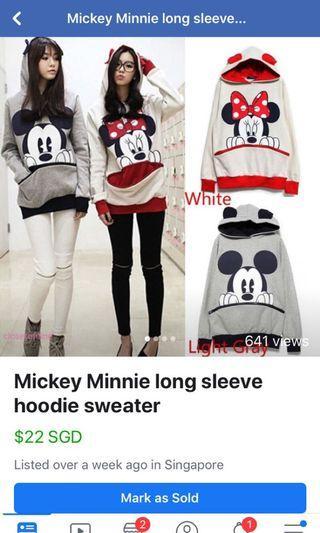 Mickey Minnie long sleeve hoodie sweater