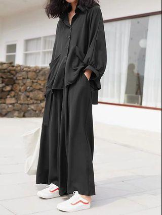 Large loose shirt pants suit set