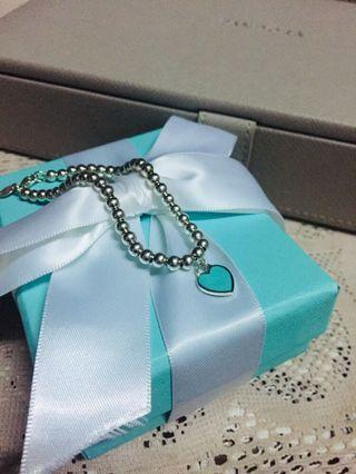 Tiffany&co 正品 經典心牌 純銀 湖水綠 手鏈