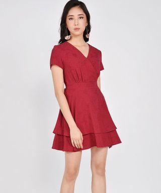 Her Velvet Vase Angelica Textured Tiered Dress - Red