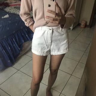 Forever21 White Denim Short Pants