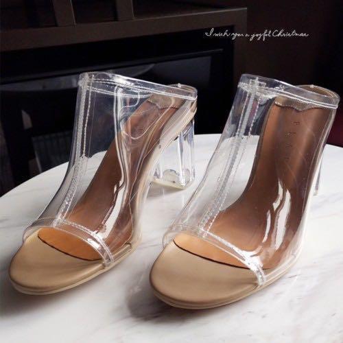韓國透明水晶玻璃粗跟拖鞋