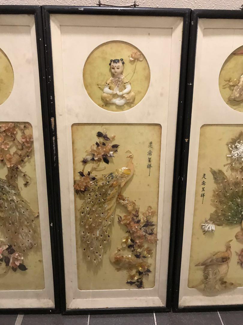 古董貝殼畫