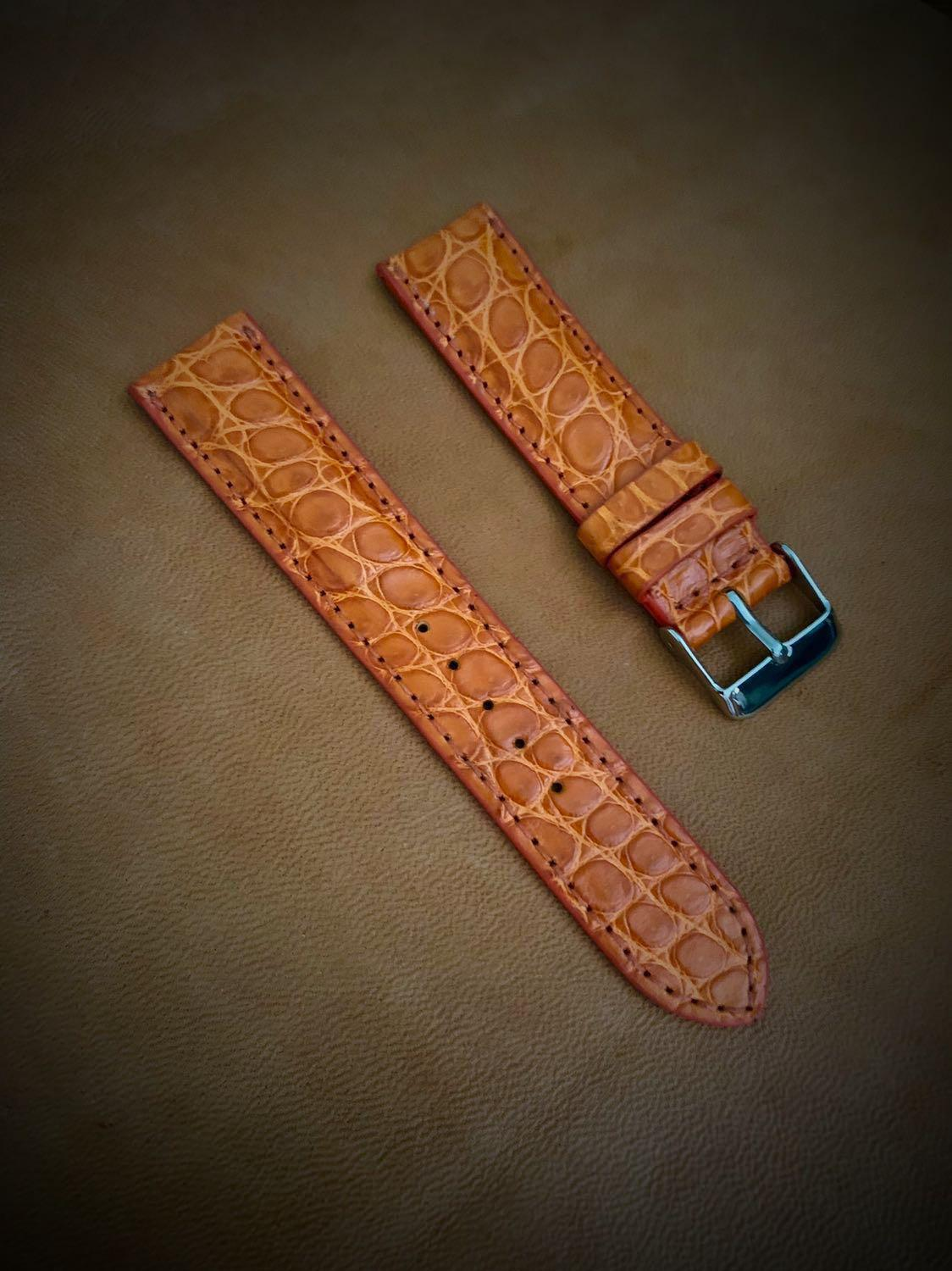Auburn Orange Brown Oval Scales Crocodile Watch Strap - 20mm@lug/18mm@buckle (true to colour) #MRTHougang #MRTSerangoon #MRTSengkang #MRTPunggol #MRTRaffles  #MRTBedok #MRTTampines #MRTCCK #MRTJurongEast #MRTYishun