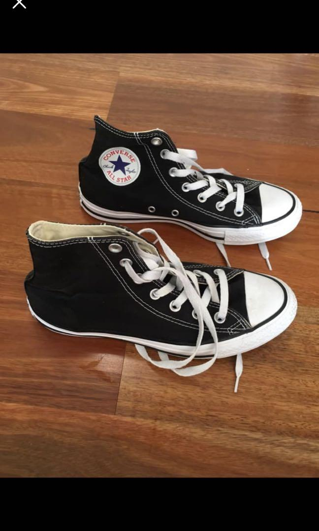 Black and white high top converse original size 8 near new