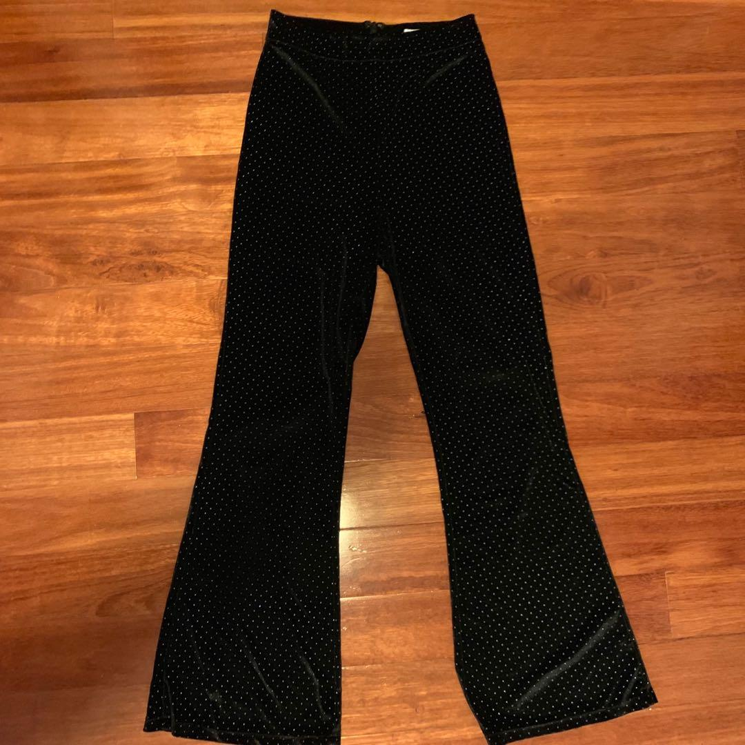 Black Velvet Studded Flare Pants