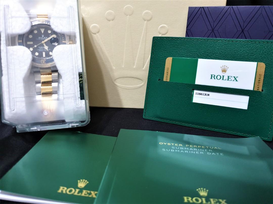 (Brand New- Full Set!) ROLEX Submariner Half gold 116613LN (Ceramic) Warranty. Unsized Stickers intact.