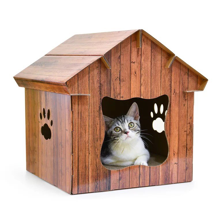 Cat Scratcher Cozy Wood House Design