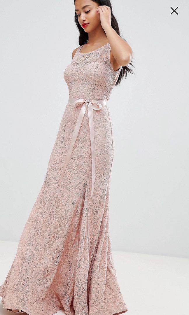 City Goddess Petite Lace Maxi Dress with Satin Belt