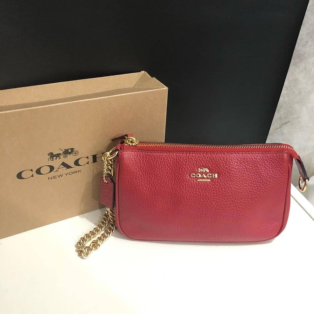 Coach Wristlet Clutch sz 19x12 True Red Pebble Leather (with box)