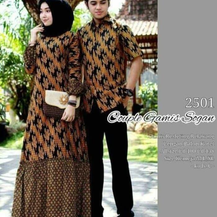 Couple Batik(gamis + kemeja) sogan muslim