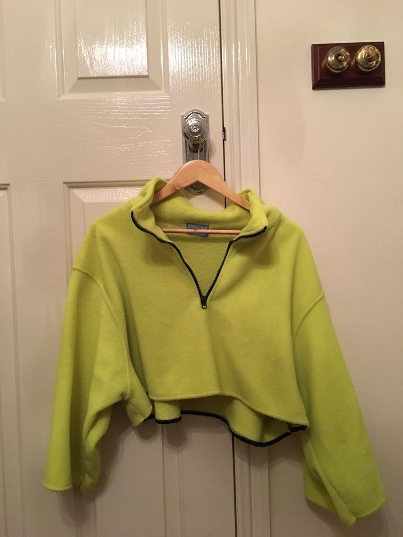 cropped fluoro yellow jumper