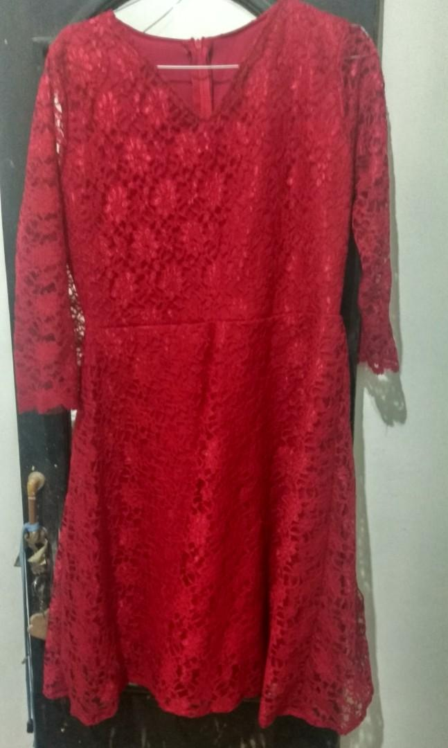 Dress Brukat Merah New