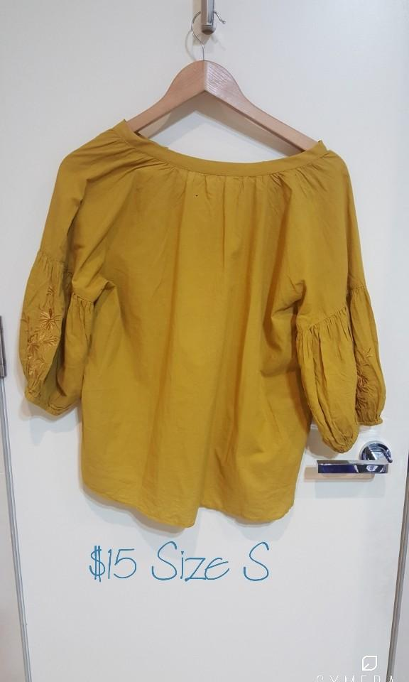 """""""Earth, Music & Ecology"""" Japanese Brand Mustard Yellow 3/4 Sleeve Top (Size S)"""